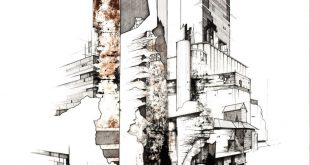 'Grain barns' Kyle Henderson 2013. Paper, Ink, Acrylic. 840mm x 593mm.