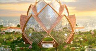 City in the Sky: Futuristic Flower Towers Soar Above Modern Metropolises...