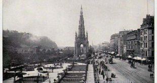 Edinburgh Scotland Princess Street Scott's Monument Gothic Architecture 1890 Vintage Victorian Rotogravure Black & White Photo Print