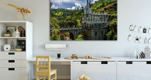 Las Lajas Cathedral Wall art canvas Cathedral decor Catholic basilica Gothic architecture Colombia print Cathedral art Castle wall decor