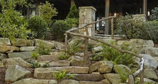 Stone and Pavers Sloping Backyard Stairs I am loving this stone stairway with ru...