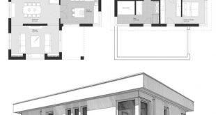Bauhaus Stadtvilla Grundriss modern mit Flachdach Architektur & Anbau mit Loggia...