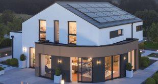 Einfamilienhaus modern minimalistisch mit Satteldach ohne Dachüberstand, Erker ...