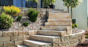 Gartentreppe in Naturstein Optik ohne Geländer