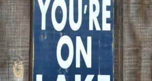 Lake House Decor - Lake Sign - On Lake Time - Lake Cabin Cottage Signage - Recla...