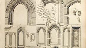 1845 Antique British Architecture Print - Rare Large English Antique Engraving of British Architectural Gems.Doorways and Doors. Plate 57