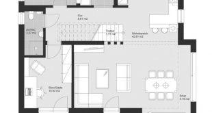Einfamilienhaus Neubau im Landhausstil Grundriss mit Satteldach, ohne Rest durch zwei teilbar...