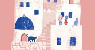 Greece Santorini art print, Summer Greek island print, Mykonos illustration, Cyc...