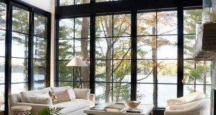 Vaulted ceilings + black framed windows // Anne Hepfer Designs