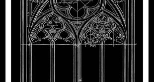 Window, Blueprint in Black, Architecture, Gothic, Architectural Wall Decor, Window Drawing, Architectural Print, Craft Art, Instant Download