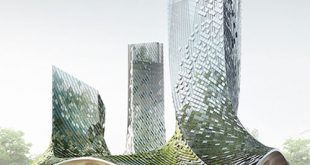 XTU architects presents an algae-covered, organic-shaped building proposal in hangzhou