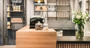 café, service counter, architecture, natural materials, wood, oak slats, chessb...