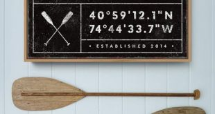 personalized LAKE HOUSE sign, rustic last name canvas for lakehouse, custom GPS location coordinates, black farmhouse wall art, boho decor